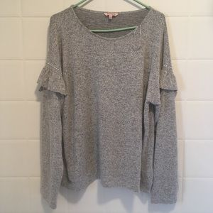 Juicy couture sweater grey with ruffle sleeves